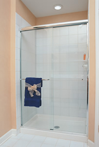Regal Bypass Shower Enclosure - Polished Chrome Finish with Clear Glass