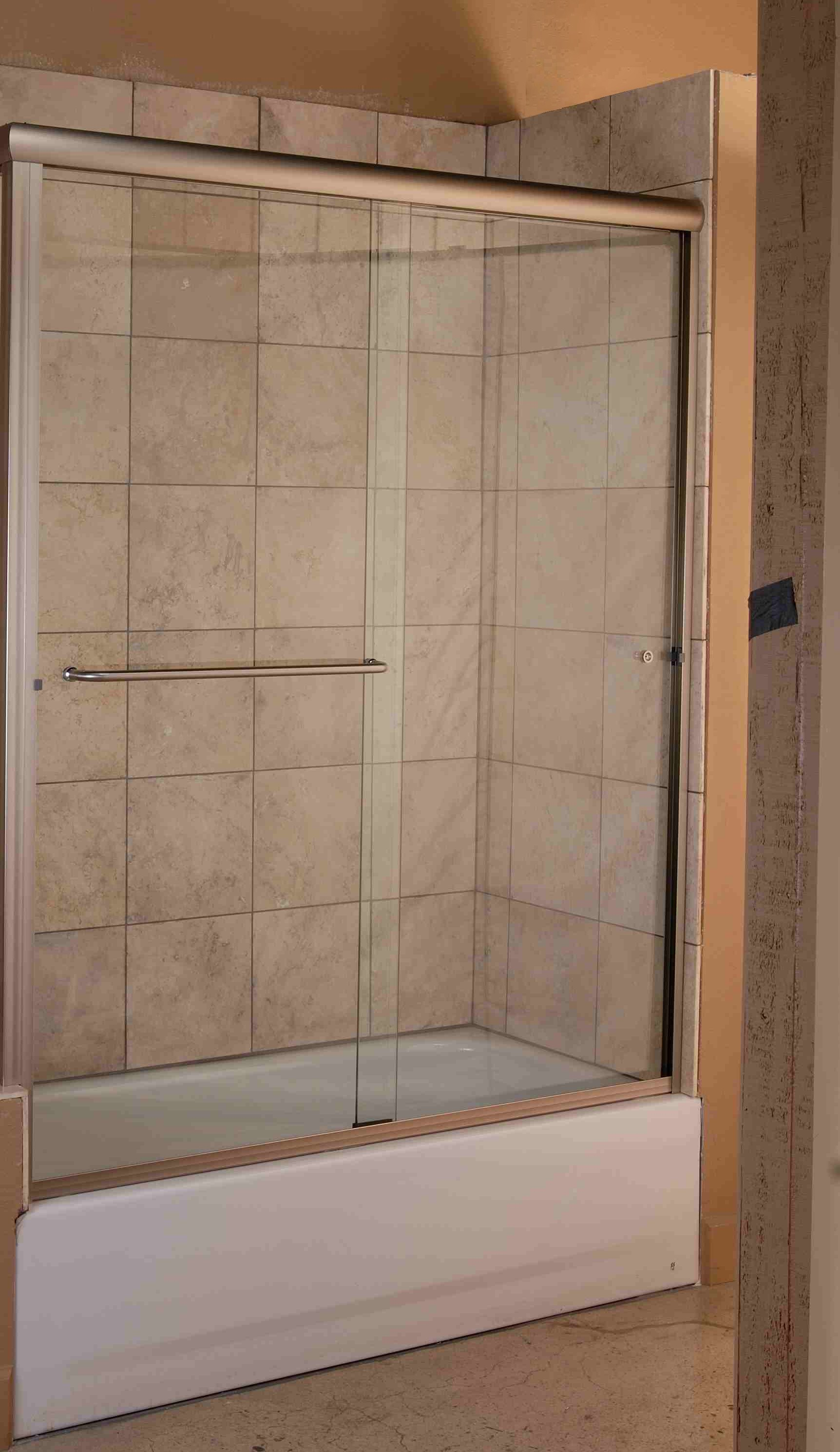 Regal Bypass Bathtub Enclosure - Brushed Nickel Finish with Clear Glass