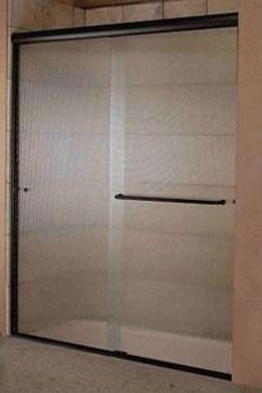 Windsor Bypass Shower Enclosure - Oil Rubbed Bronze Finish & Narrow Reed Glass
